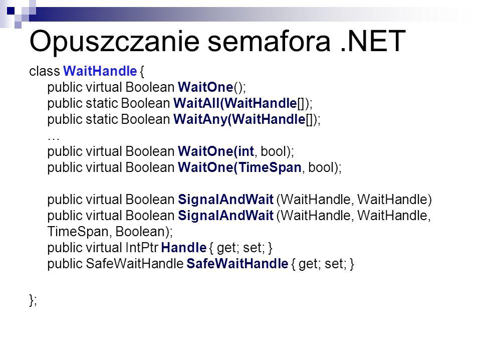 Opuszczanie semafora.NET class WaitHandle { public virtual Boolean WaitOne(); public static Boolean WaitAll(WaitHandle[]); public static Boolean WaitA