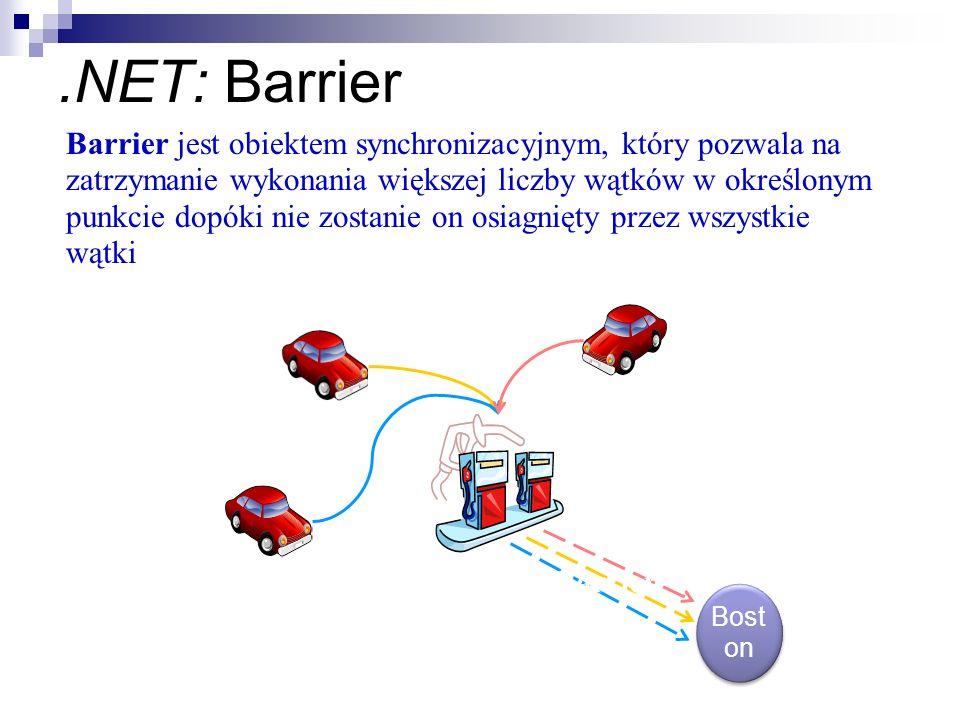 .NET: Barrier Mac Charlie Dennis Gas Station = Barrier Bost on Barrier jest obiektem synchronizacyjnym, który pozwala na zatrzymanie wykonania większe