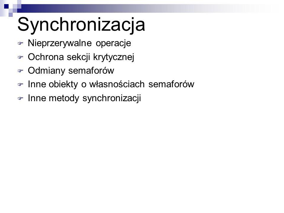 Synchronizacja Nieprzerywalne operacje Ochrona sekcji krytycznej Odmiany semaforów Inne obiekty o własnościach semaforów Inne metody synchronizacji