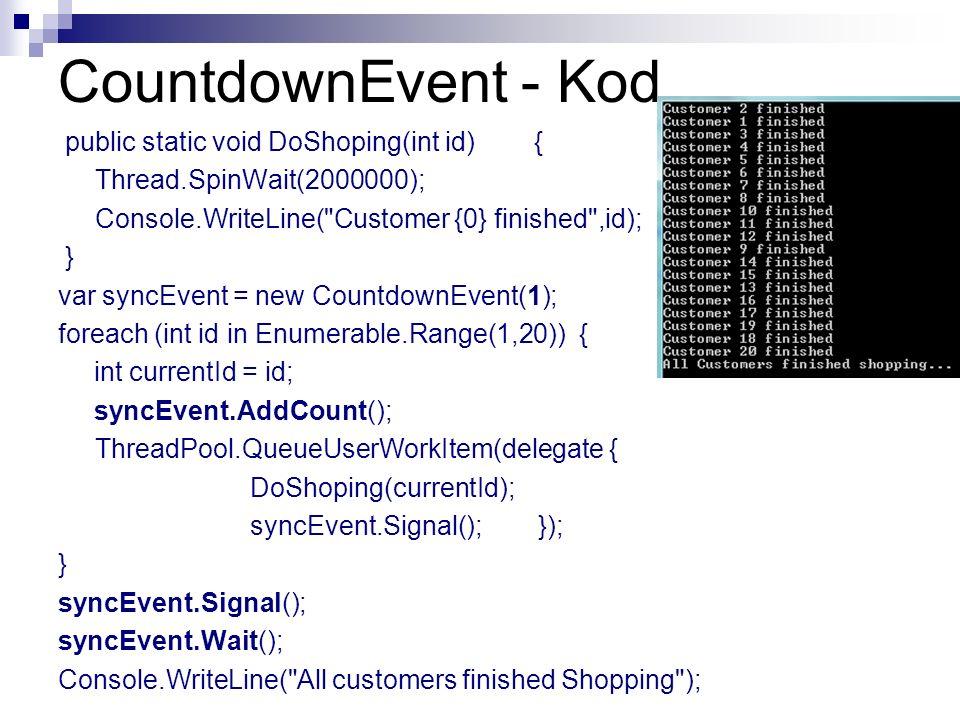CountdownEvent - Kod public static void DoShoping(int id) { Thread.SpinWait(2000000); Console.WriteLine(