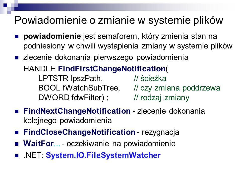 Powiadomienie o zmianie w systemie plików powiadomienie jest semaforem, który zmienia stan na podniesiony w chwili wystąpienia zmiany w systemie plikó