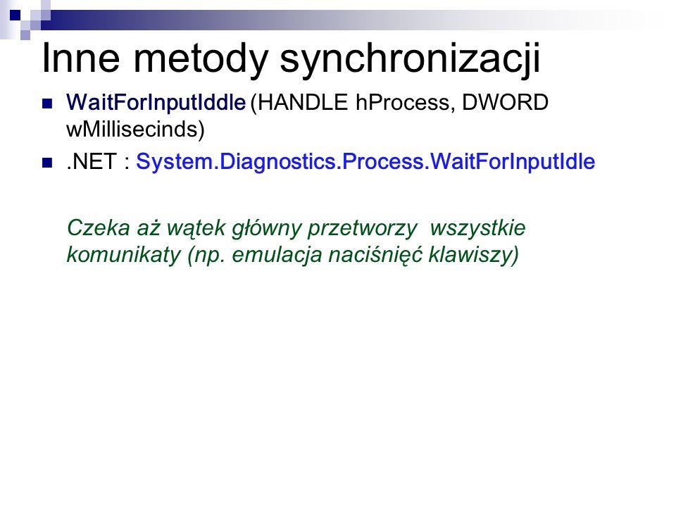 Inne metody synchronizacji WaitForInputIddle (HANDLE hProcess, DWORD wMillisecinds).NET : System.Diagnostics.Process.WaitForInputIdle Czeka aż wątek g