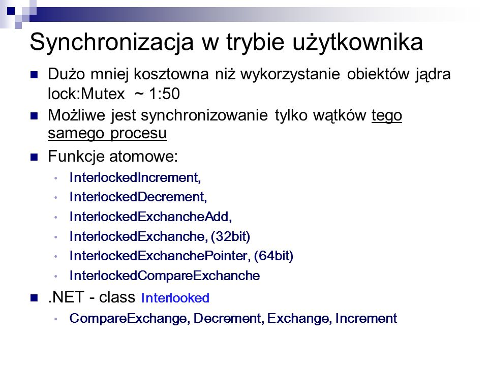Czekanie inaczej var threads = new list (); for (var i=1; i<=10; i++) { var t = new Thread (() =>endOfWork.signal()); t.Start(); threads.Add(); } WaitHandle.WaitAny(threads, true); // false ?