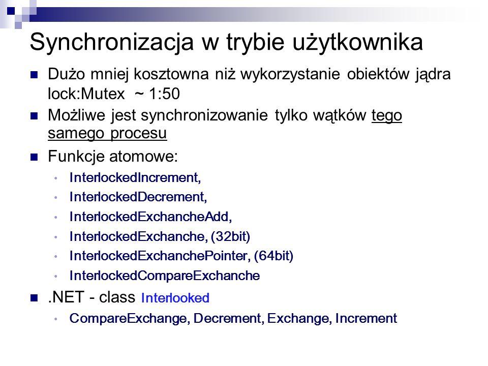 Synchronizacja w trybie użytkownika Dużo mniej kosztowna niż wykorzystanie obiektów jądra lock:Mutex ~ 1:50 Możliwe jest synchronizowanie tylko wątków