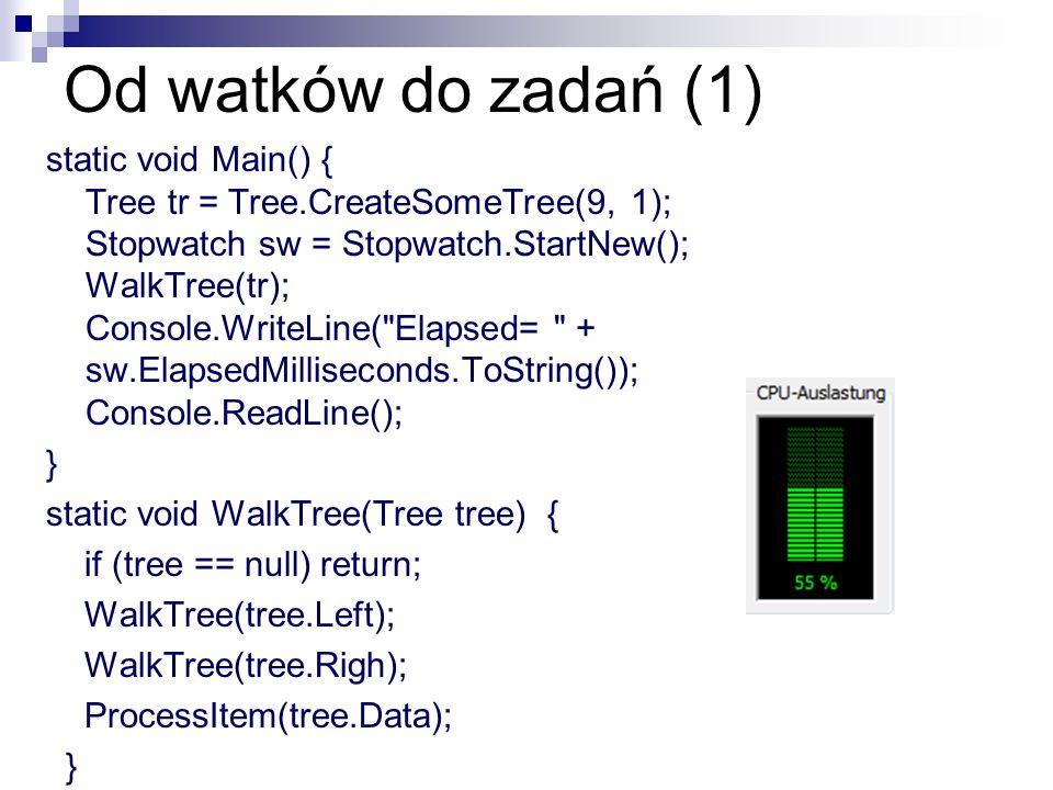 Od watków do zadań (1) static void Main() { Tree tr = Tree.CreateSomeTree(9, 1); Stopwatch sw = Stopwatch.StartNew(); WalkTree(tr); Console.WriteLine(