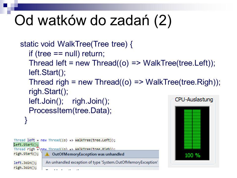 Od watków do zadań (2) static void WalkTree(Tree tree) { if (tree == null) return; Thread left = new Thread((o) => WalkTree(tree.Left)); left.Start();