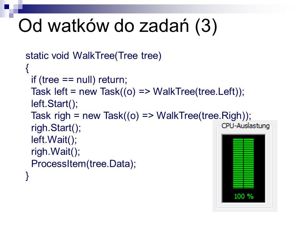 Od watków do zadań (3) static void WalkTree(Tree tree) { if (tree == null) return; Task left = new Task((o) => WalkTree(tree.Left)); left.Start(); Tas