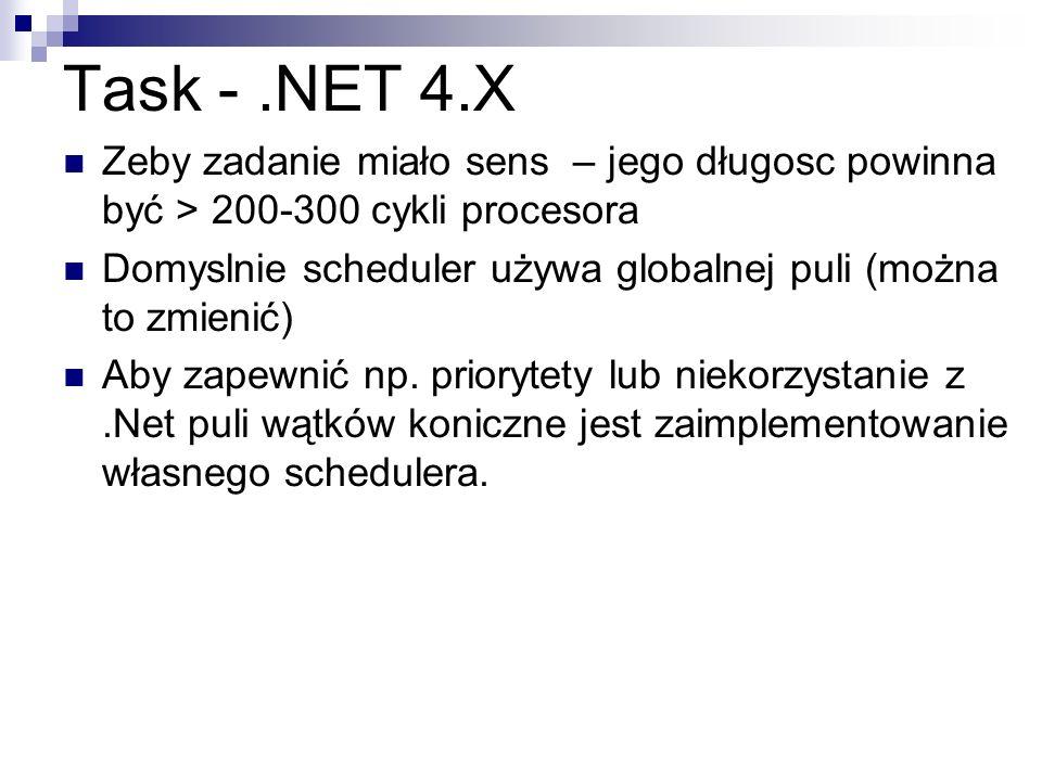 Task -.NET 4.X Zeby zadanie miało sens – jego długosc powinna być > 200-300 cykli procesora Domyslnie scheduler używa globalnej puli (można to zmienić