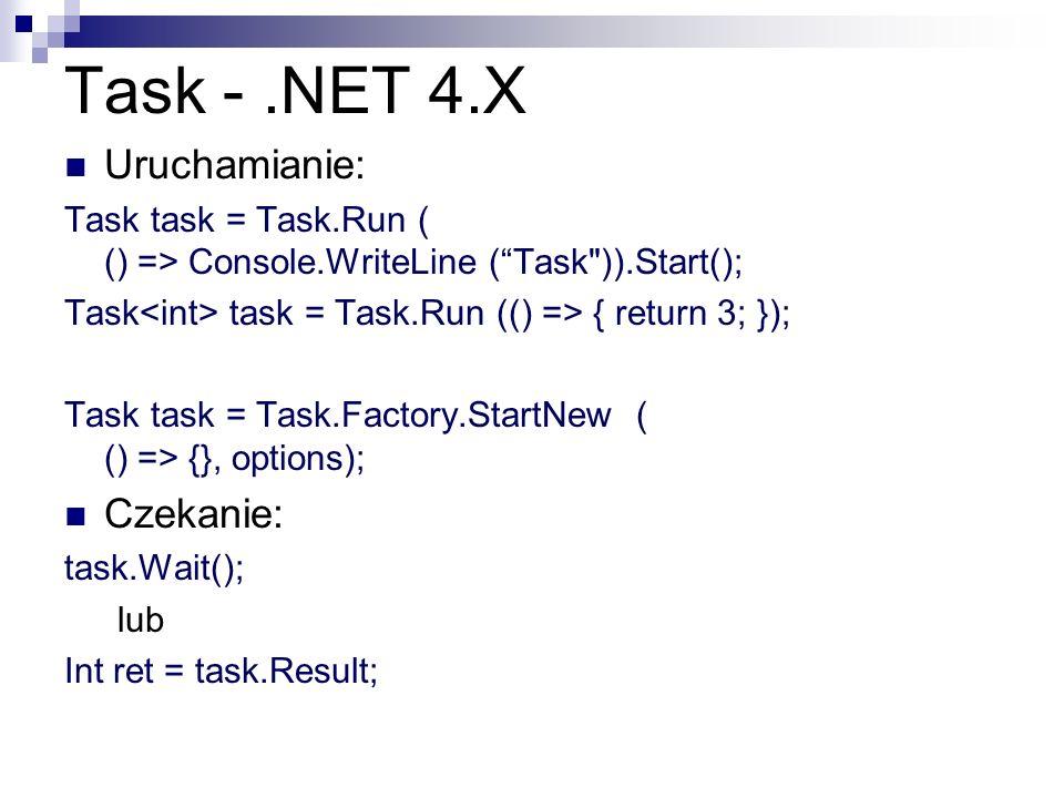 Task -.NET 4.X Uruchamianie: Task task = Task.Run ( () => Console.WriteLine (Task