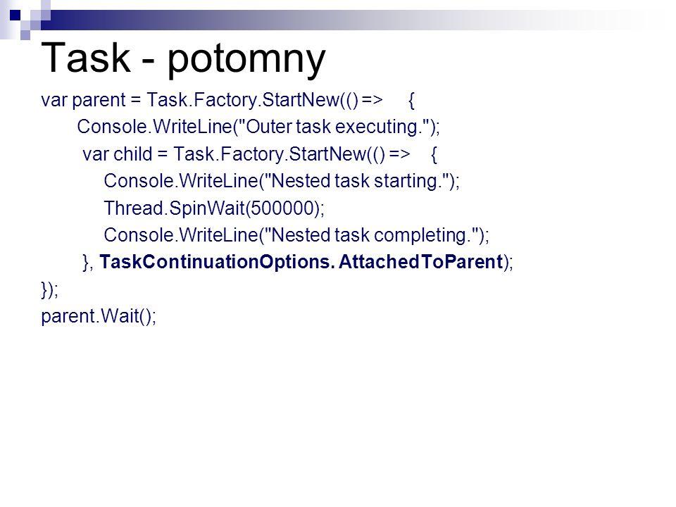 Task - potomny var parent = Task.Factory.StartNew(() => { Console.WriteLine(