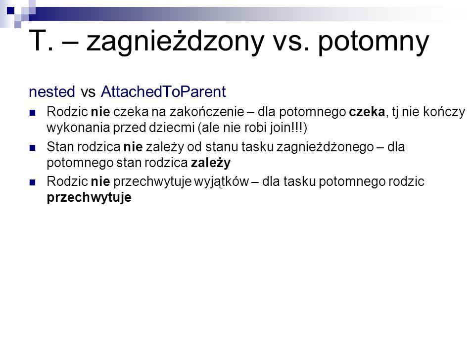 T. – zagnieżdzony vs. potomny nested vs AttachedToParent Rodzic nie czeka na zakończenie – dla potomnego czeka, tj nie kończy wykonania przed dziecmi