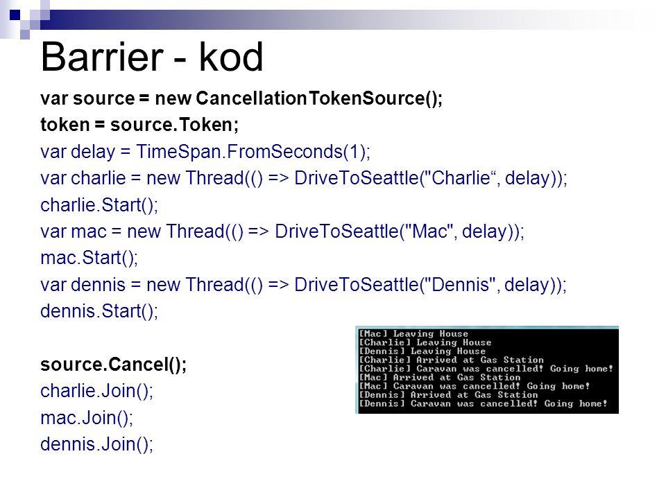 Barrier - kod var source = new CancellationTokenSource(); token = source.Token; var delay = TimeSpan.FromSeconds(1); var charlie = new Thread(() => Dr