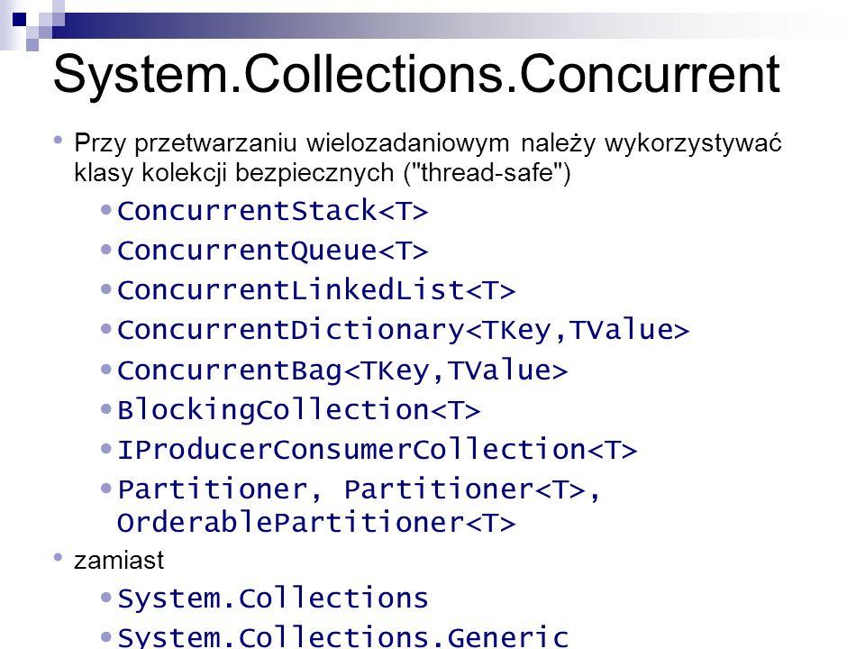 System.Collections.Concurrent Przy przetwarzaniu wielozadaniowym należy wykorzystywać klasy kolekcji bezpiecznych (