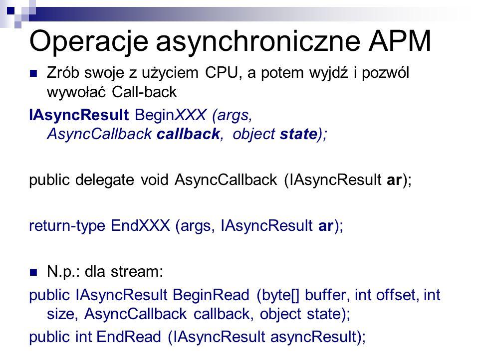 Operacje asynchroniczne APM Zrób swoje z użyciem CPU, a potem wyjdź i pozwól wywołać Call-back IAsyncResult BeginXXX (args, AsyncCallback callback, ob
