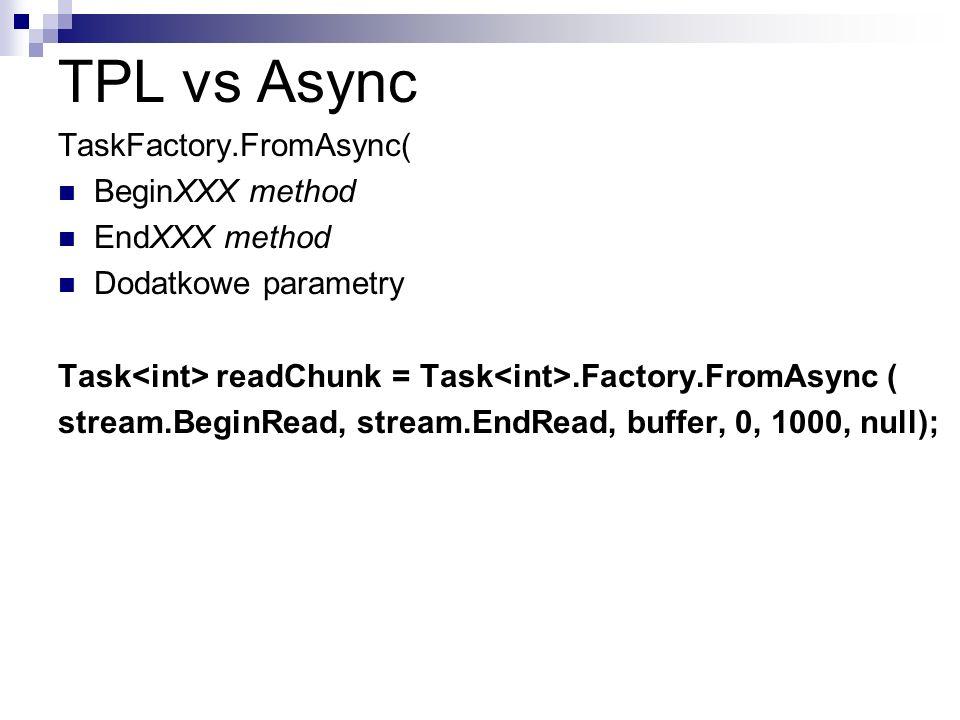 TPL vs Async TaskFactory.FromAsync( BeginXXX method EndXXX method Dodatkowe parametry Task readChunk = Task.Factory.FromAsync ( stream.BeginRead, stre