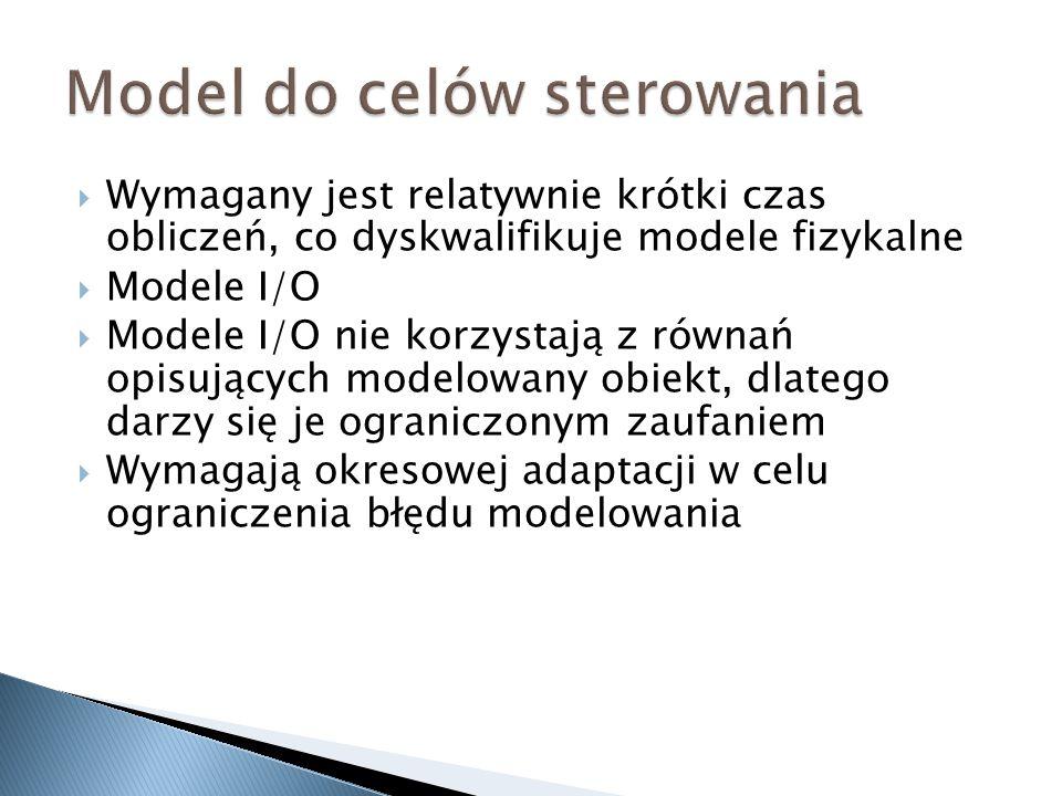 Wymagany jest relatywnie krótki czas obliczeń, co dyskwalifikuje modele fizykalne Modele I/O Modele I/O nie korzystają z równań opisujących modelowany