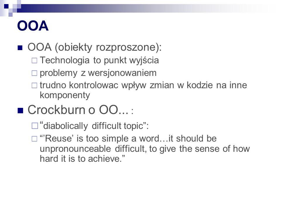 OOA OOA (obiekty rozproszone): Technologia to punkt wyjścia problemy z wersjonowaniem trudno kontrolowac wpływ zmian w kodzie na inne komponenty Crockburn o OO...