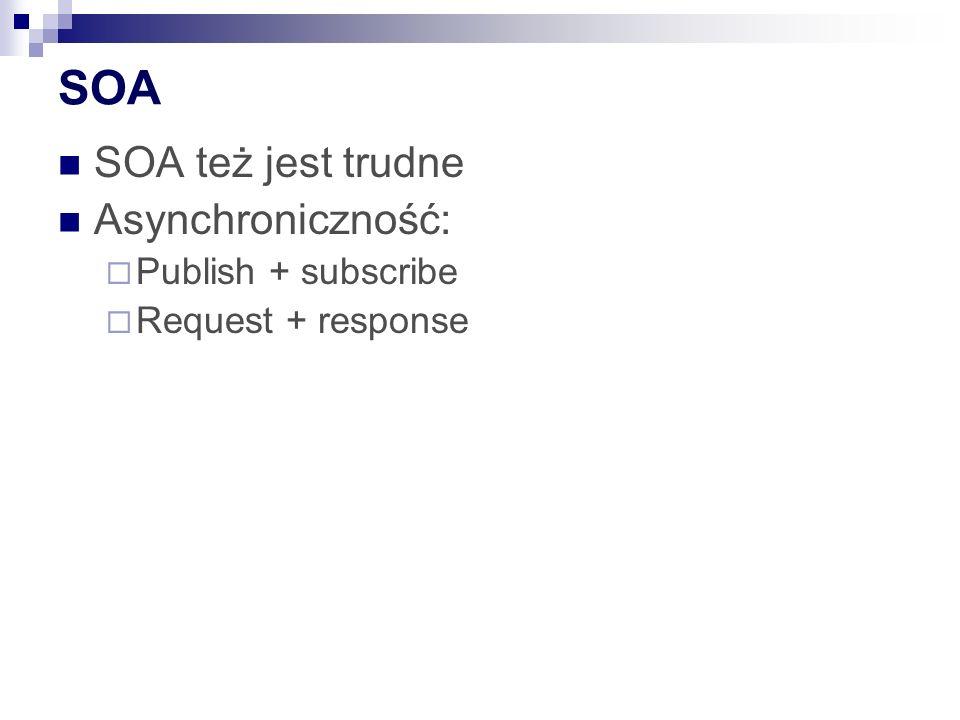 SOA SOA też jest trudne Asynchroniczność: Publish + subscribe Request + response