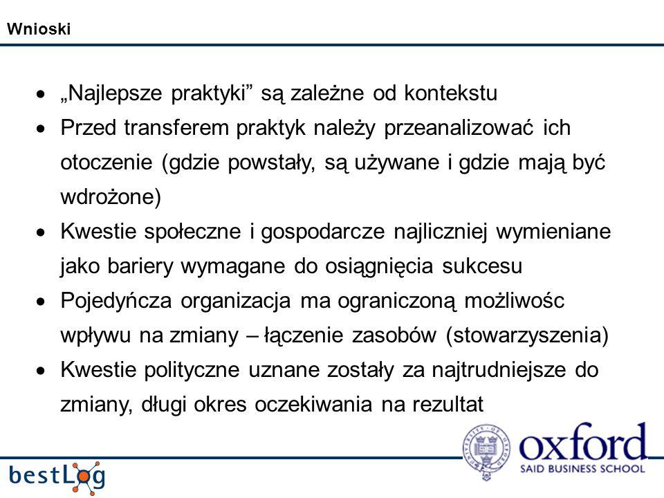 Wnioski Najlepsze praktyki są zależne od kontekstu Przed transferem praktyk należy przeanalizować ich otoczenie (gdzie powstały, są używane i gdzie mają być wdrożone) Kwestie społeczne i gospodarcze najliczniej wymieniane jako bariery wymagane do osiągnięcia sukcesu Pojedyńcza organizacja ma ograniczoną możliwośc wpływu na zmiany – łączenie zasobów (stowarzyszenia) Kwestie polityczne uznane zostały za najtrudniejsze do zmiany, długi okres oczekiwania na rezultat
