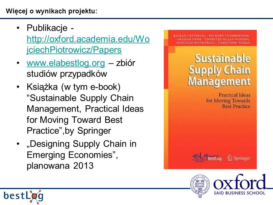 Więcej o wynikach projektu: Publikacje - http://oxford.academia.edu/Wo jciechPiotrowicz/Papers http://oxford.academia.edu/Wo jciechPiotrowicz/Papers www.elabestlog.org – zbiór studiów przypadkówwww.elabestlog.org Książka (w tym e-book) Sustainable Supply Chain Management, Practical Ideas for Moving Toward Best Practice,by Springer Designing Supply Chain in Emerging Economies, planowana 2013