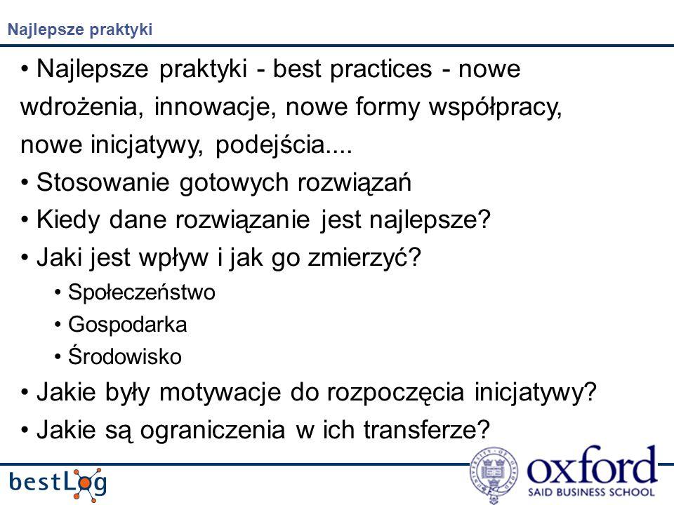 Najlepsze praktyki Najlepsze praktyki - best practices - nowe wdrożenia, innowacje, nowe formy współpracy, nowe inicjatywy, podejścia....