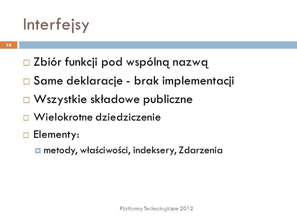 Interfejsy Platformy Technologiczne 2012 14 Zbiór funkcji pod wspólną nazwą Same deklaracje - brak implementacji Wszystkie składowe publiczne Wielokro