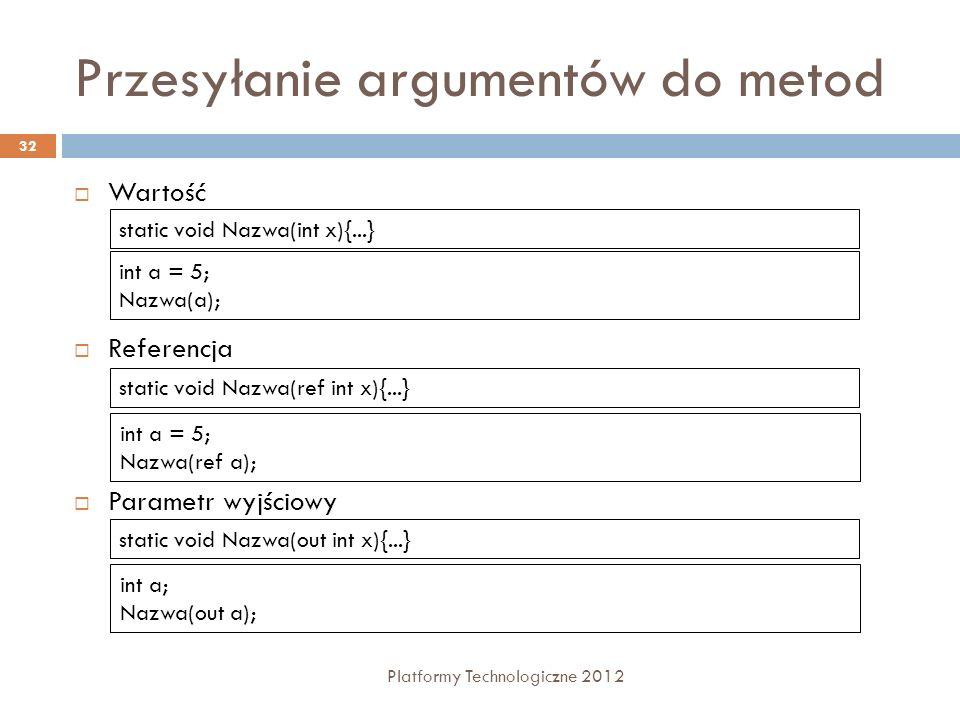 Przesyłanie argumentów do metod Platformy Technologiczne 2012 32 Wartość Referencja Parametr wyjściowy static void Nazwa(int x){...} int a = 5; Nazwa(