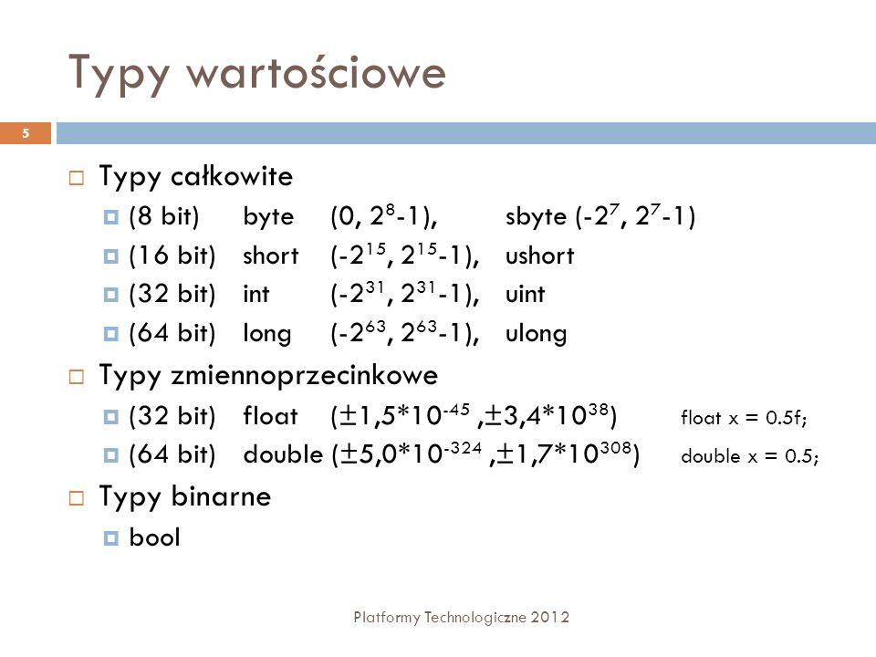 Typy wartościowe Platformy Technologiczne 2012 5 Typy całkowite (8 bit)byte (0, 2 8 -1), sbyte (-2 7, 2 7 -1) (16 bit)short (-2 15, 2 15 -1), ushort (