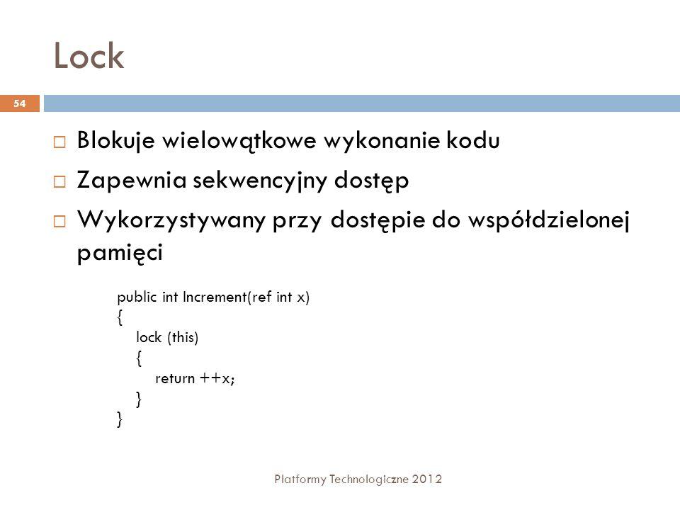 Lock Platformy Technologiczne 2012 54 Blokuje wielowątkowe wykonanie kodu Zapewnia sekwencyjny dostęp Wykorzystywany przy dostępie do współdzielonej p