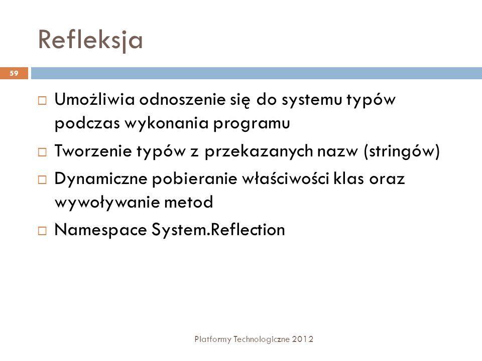 Refleksja Platformy Technologiczne 2012 59 Umożliwia odnoszenie się do systemu typów podczas wykonania programu Tworzenie typów z przekazanych nazw (s
