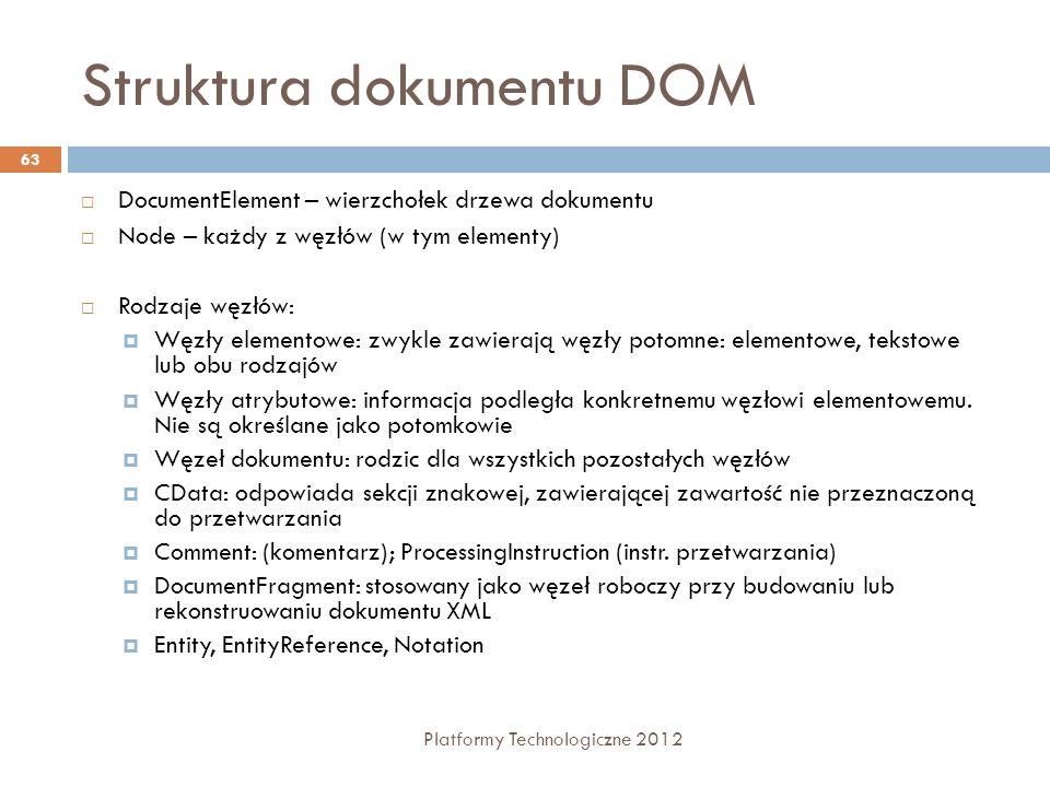 Struktura dokumentu DOM Platformy Technologiczne 2012 63 DocumentElement – wierzchołek drzewa dokumentu Node – każdy z węzłów (w tym elementy) Rodzaje