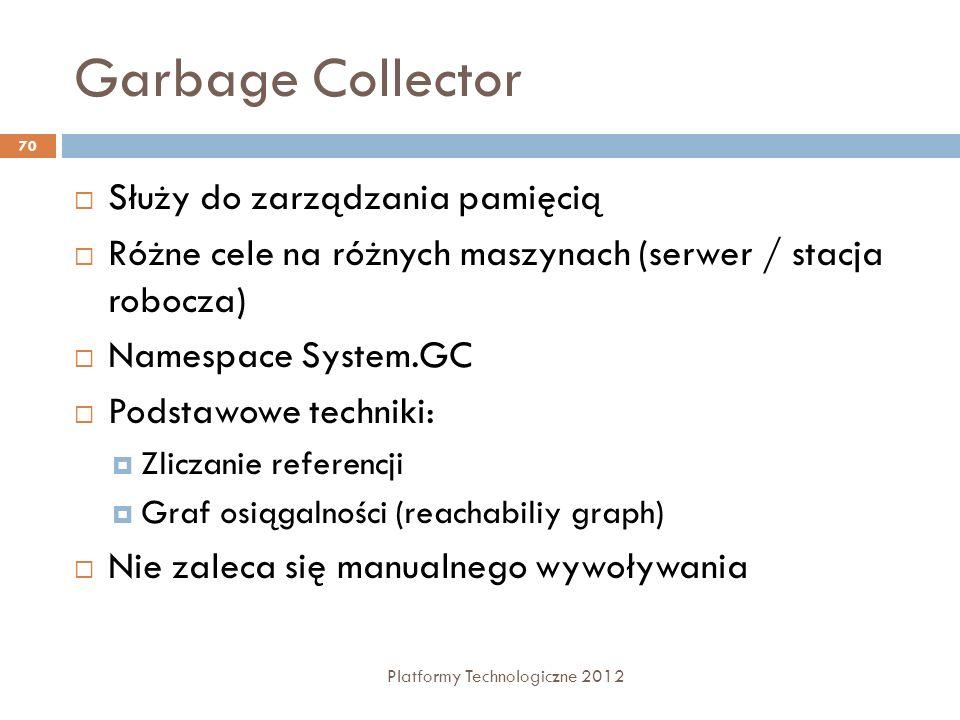 Garbage Collector Platformy Technologiczne 2012 70 Służy do zarządzania pamięcią Różne cele na różnych maszynach (serwer / stacja robocza) Namespace S