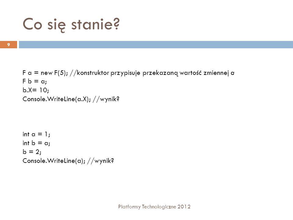 Metody rozszerzające Platformy Technologiczne 2012 40 Umożliwiają rozszerzanie istniejących klas o nowe metody Metoda musi być zdefiniowana jako statyczna public static class Extensions { public static int Increment(this int i) { return ++i; } //wywołanie int i = 0; int j = i.Increment();
