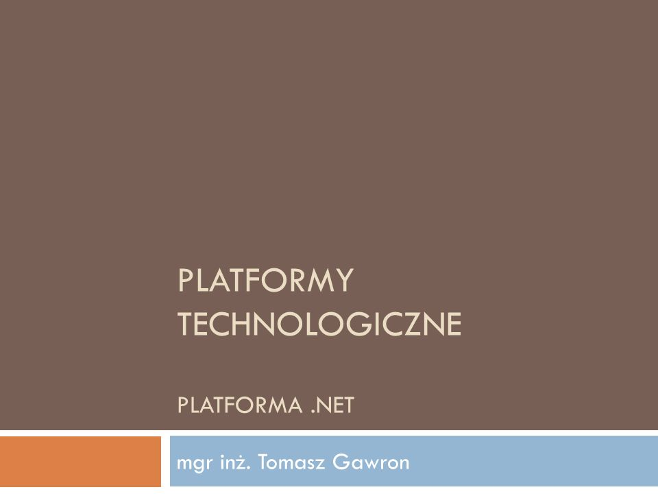 CIL – kompilacja JIT Platformy Technologiczne 2012 12 CIL jest kompilowany do kodu procesora podczas wykonywania programu Point pt; pt = new Point(); pt.x = 200; pt.y = 300; C# // Point pt = new Point();.locals init ([0] class Point pt) newobj instance void Point::.ctor() stloc.0 // pt.x = 200; ldloc.0 ldc.i4 0xc8 stfld int32 Point::x // pt.y = 300; ldloc.0 ldc.i4 0x12c stfld int32 Point::y IL call FD5B0AD8 ; allocate mov ecx, eax ; ecx == pt call dword ptr ds:[003E5144h] ; pt.ctor mov dword ptr [ecx+4], 0C8h ; pt.x = 200 mov dword ptr [ecx+8], 12Ch ; pt.y = 300 Intel x86 dev-time compile run-time compile CIL
