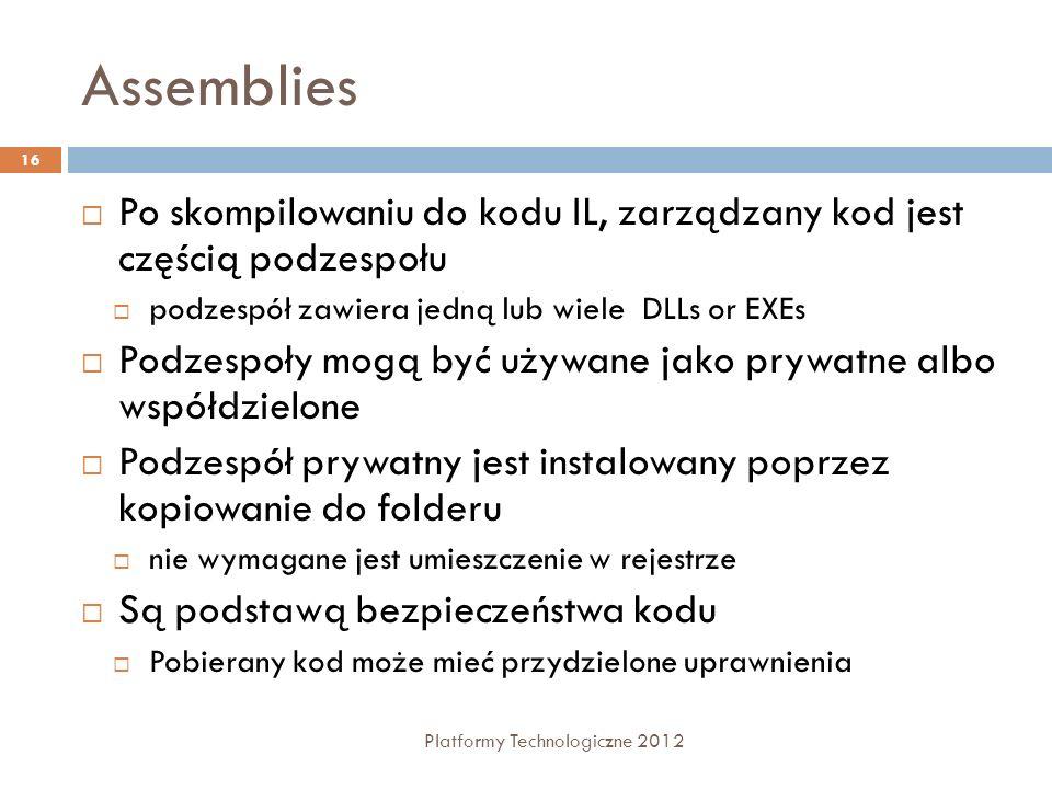 Assemblies Platformy Technologiczne 2012 16 Po skompilowaniu do kodu IL, zarządzany kod jest częścią podzespołu podzespół zawiera jedną lub wiele DLLs