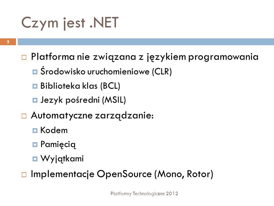 Czym jest.NET Platforma nie związana z językiem programowania Środowisko uruchomieniowe (CLR) Biblioteka klas (BCL) Jezyk pośredni (MSIL) Automatyczne