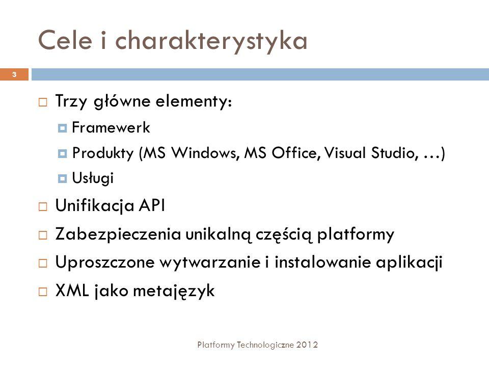 Podzespoły - Assemblies Platformy Technologiczne 2012 14 Logiczne bloki, skompilowane do kodu pośredniego IL, z których buduje się aplikacje.NET Zawierają kod w języku IL oraz metadane Wersjonowane Opisywane przez 2 rodzaje metadanych: manifest Nazwa podzespołu Numer wersji Podpis cyfrowy Lista uprawnień metadane indywidualne
