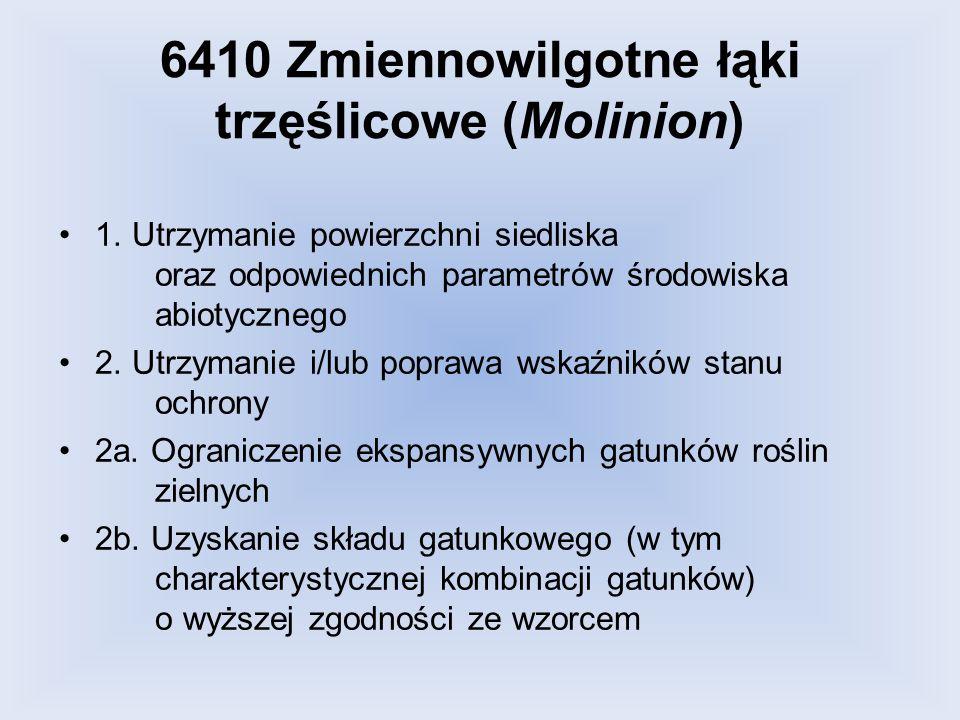 6410 Zmiennowilgotne łąki trzęślicowe (Molinion) 1. Utrzymanie powierzchni siedliska oraz odpowiednich parametrów środowiska abiotycznego 2. Utrzymani