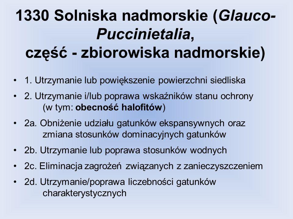 1330 Solniska nadmorskie (Glauco- Puccinietalia, część - zbiorowiska nadmorskie) 1. Utrzymanie lub powiększenie powierzchni siedliska 2. Utrzymanie i/
