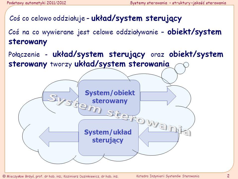Podstawy automatyki 2011/2012Systemy sterowania - struktury –jakość sterowania Mieczysław Brdyś, prof.