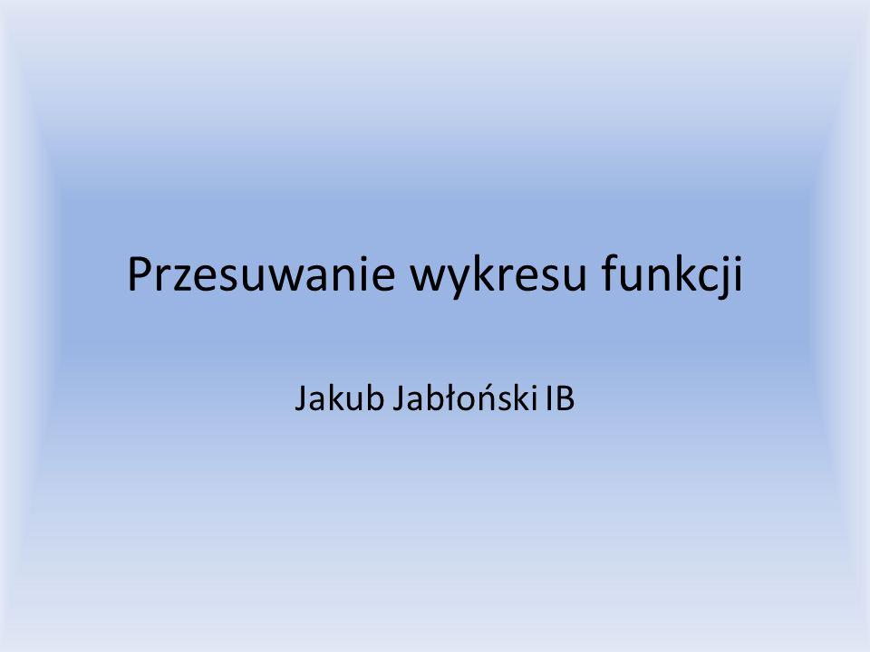 Przesuwanie wykresu funkcji Jakub Jabłoński IB
