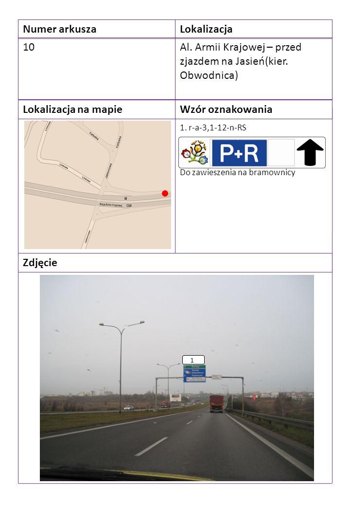 Numer arkuszaLokalizacja 10Al. Armii Krajowej – przed zjazdem na Jasień(kier.