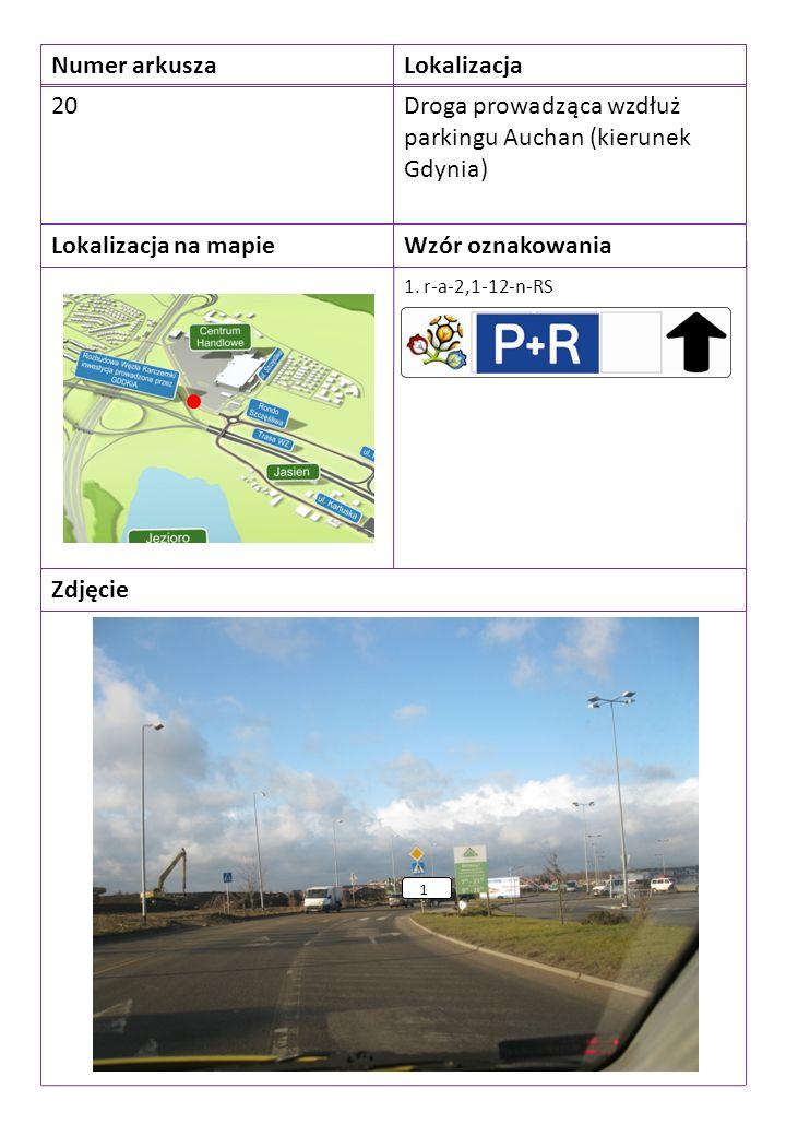 Numer arkuszaLokalizacja 20Droga prowadząca wzdłuż parkingu Auchan (kierunek Gdynia) Lokalizacja na mapieWzór oznakowania Zdjęcie 1.
