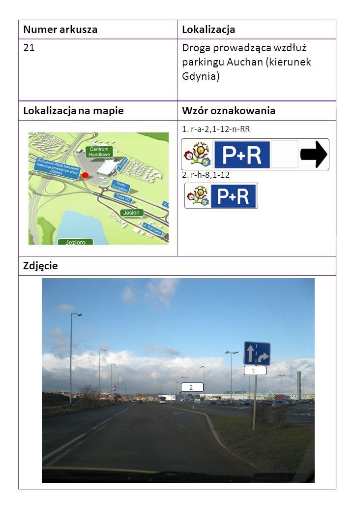 Numer arkuszaLokalizacja 21Droga prowadząca wzdłuż parkingu Auchan (kierunek Gdynia) Lokalizacja na mapieWzór oznakowania Zdjęcie 1.