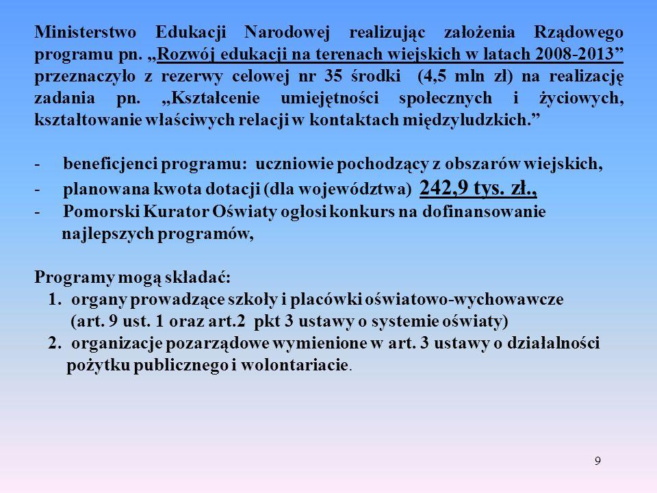 10 Rządowy program wyrównywania szans edukacyjnych dzieci i młodzieży w 2008 r.