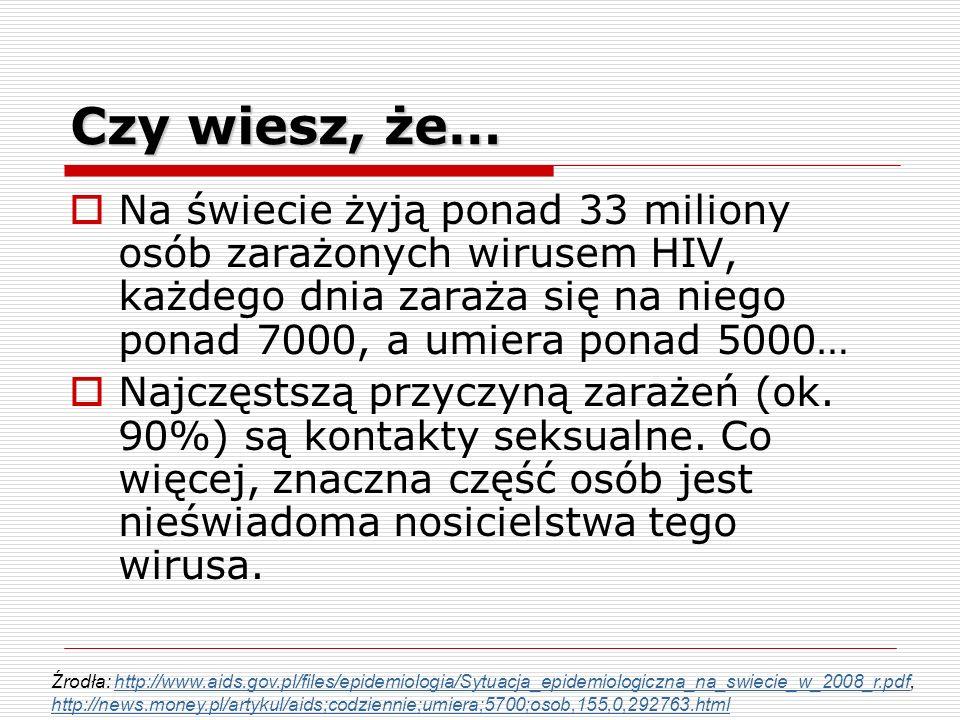 Na świecie żyją ponad 33 miliony osób zarażonych wirusem HIV, każdego dnia zaraża się na niego ponad 7000, a umiera ponad 5000… Najczęstszą przyczyną