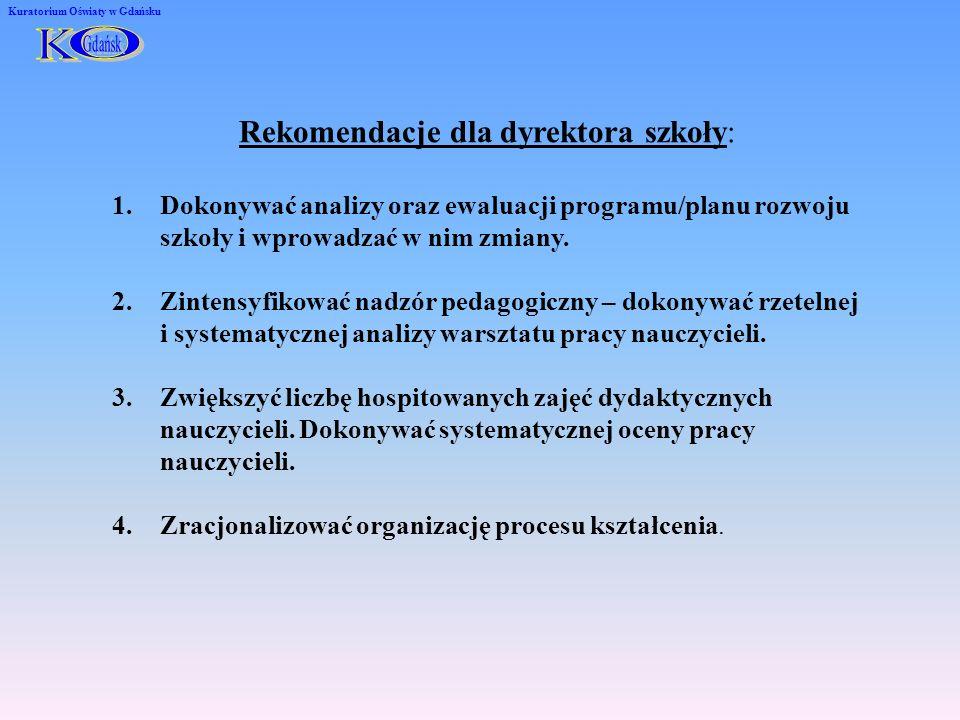 Rekomendacje dla dyrektora szkoły: 1.Dokonywać analizy oraz ewaluacji programu/planu rozwoju szkoły i wprowadzać w nim zmiany. 2.Zintensyfikować nadzó