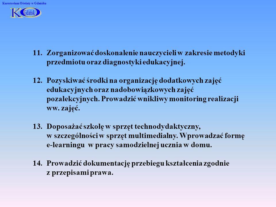 Kuratorium Oświaty w Gdańsku 11.Zorganizować doskonalenie nauczycieli w zakresie metodyki przedmiotu oraz diagnostyki edukacyjnej. 12.Pozyskiwać środk