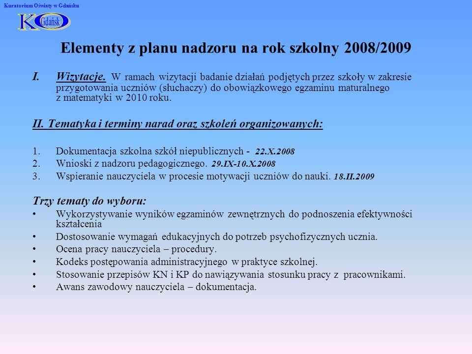 Elementy z planu nadzoru na rok szkolny 2008/2009 I.Wizytacje. W ramach wizytacji badanie działań podjętych przez szkoły w zakresie przygotowania uczn