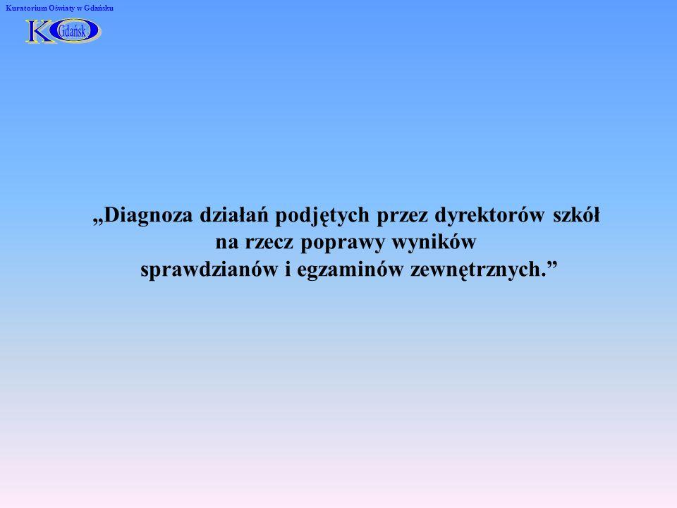 Diagnoza działań podjętych przez dyrektorów szkół na rzecz poprawy wyników sprawdzianów i egzaminów zewnętrznych. Kuratorium Oświaty w Gdańsku
